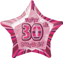 "Glitz 20"" Star Balloon Pink - Age 30"